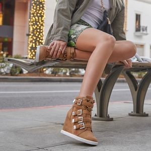 ShoeDazzle Hermosa Tan Buckled Wedge Sneaker, 8.5